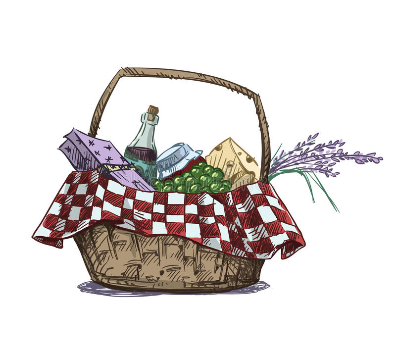 Picnic basket with snack vector illustration