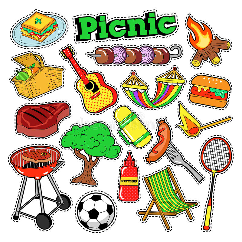 Download Picnic BBQ Doodle Stickers, Badges, Patches For Scrapbooking Stock Vector - Image: 83720407