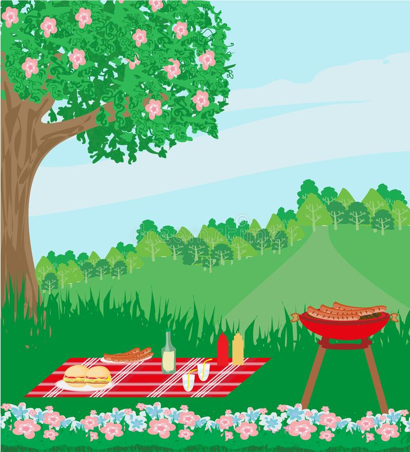 Picnic bbq party outdoor recreation. Vector Illustration vector illustration