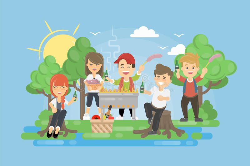 Picnic with BBQ. People having fun and cooking meat and vegetables royalty free illustration