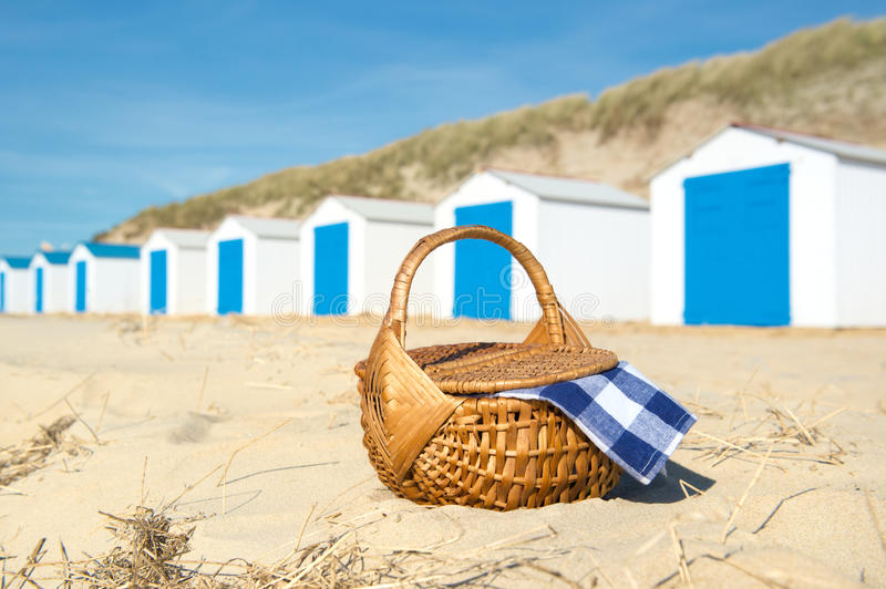 Download Picnic At Beach With Blue Huts Stock Photo - Image: 32438126