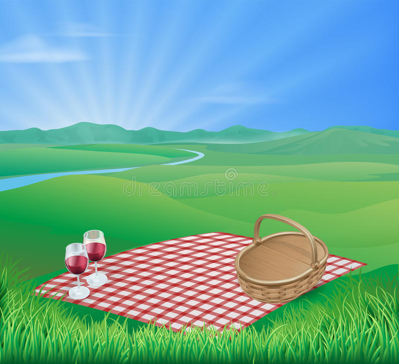 Picnic in beautiful rural scene stock illustration