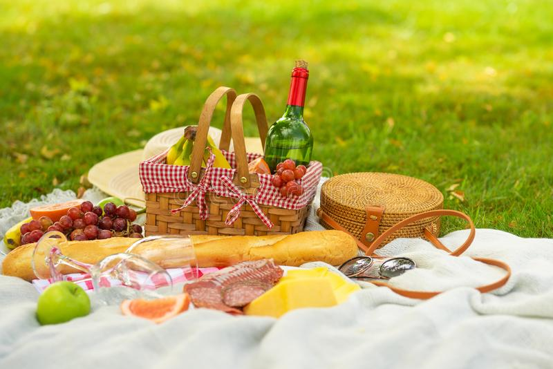 Picnic, camping in the gardens, romance and relaxation. Summer and mood. Weekend and vacation, sunny mood stock photo