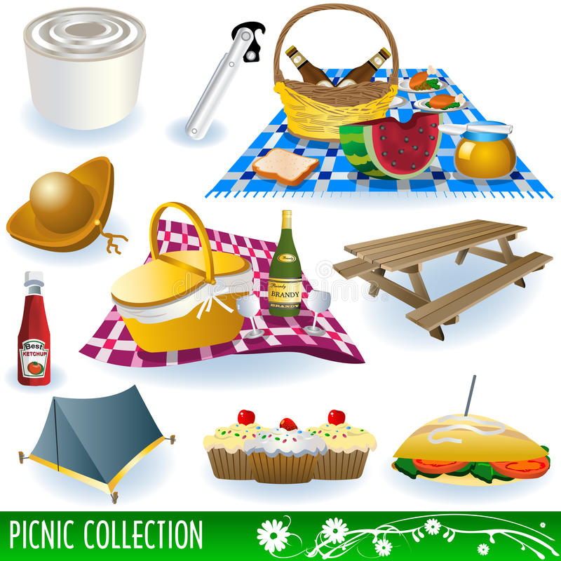 Download Picnic collection stock vector. Illustration of bench - 13168734