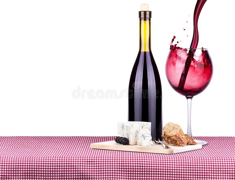 Picnic con vino ed alimento fotografia stock