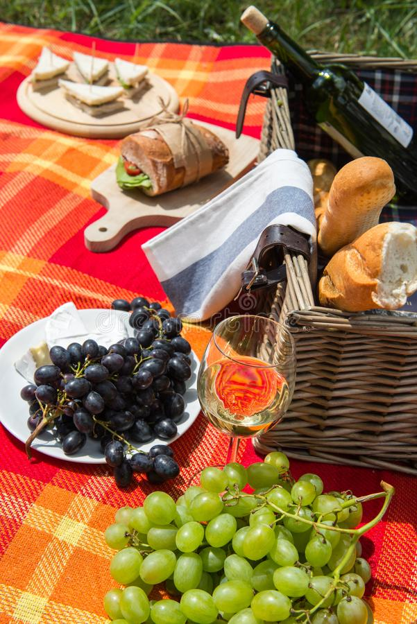Picnic concept - food and wine on the blanket stock image