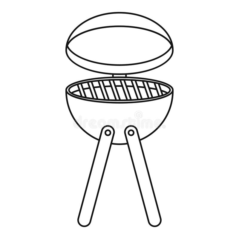 Picnic cooking barbecue device icon, outline style vector illustration