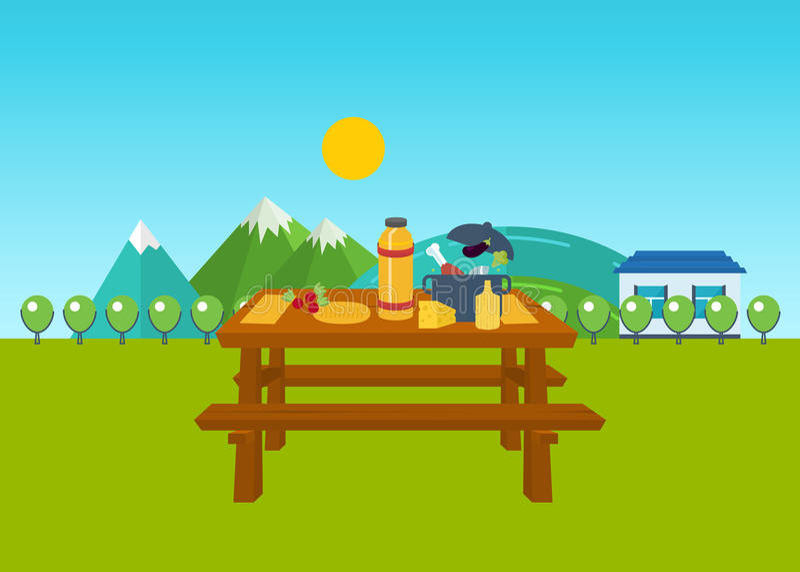 Picnic di estate Tabella con alimento e la bevanda illustrazione vettoriale