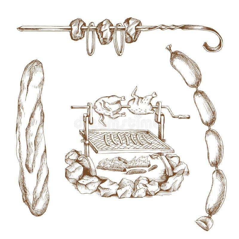 Picnic disegnato a mano fissato: griglia, baguette, mazzo di salsiccie, barbecue Arte dell'incisione Prodotti a base di carne per illustrazione vettoriale