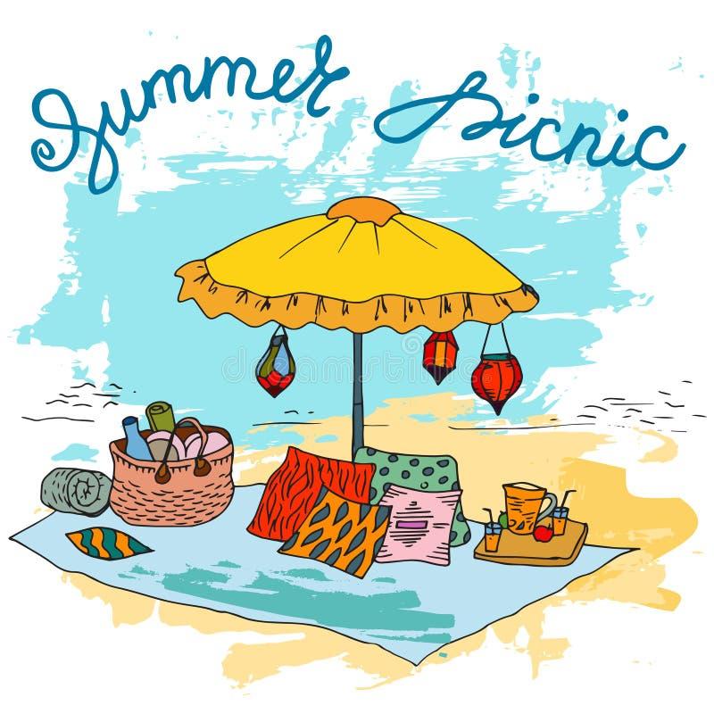 Picnic disegnato a mano sulla spiaggia con il grande ombrello illustrazione vettoriale