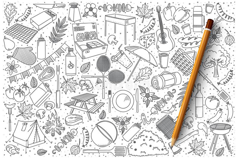 Picnic doodle vector set. Hand drawn set of picnic vector doodles vector illustration