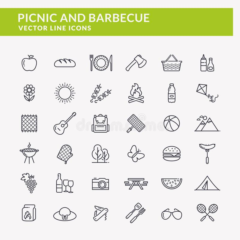 Picnic e linea icone del barbecue royalty illustrazione gratis