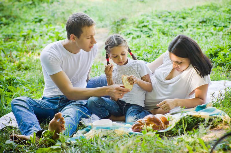 Picnic eating stock photography