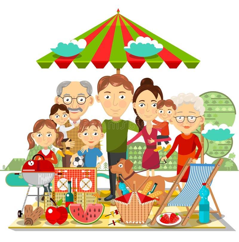 Picnic family vector illustration stock illustration