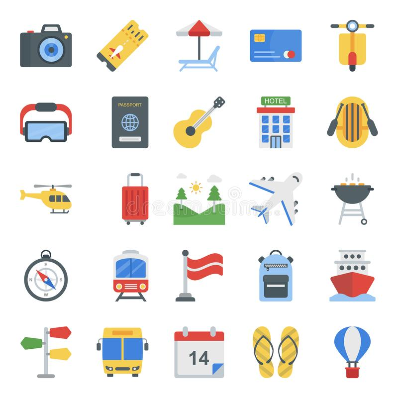 Picnic Flat Icons Pack royalty free stock photo