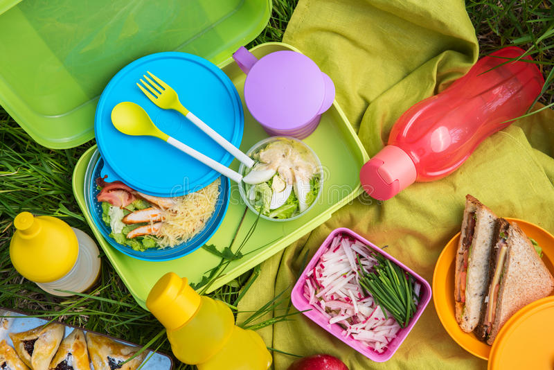 Picnic food at outdoor stock image