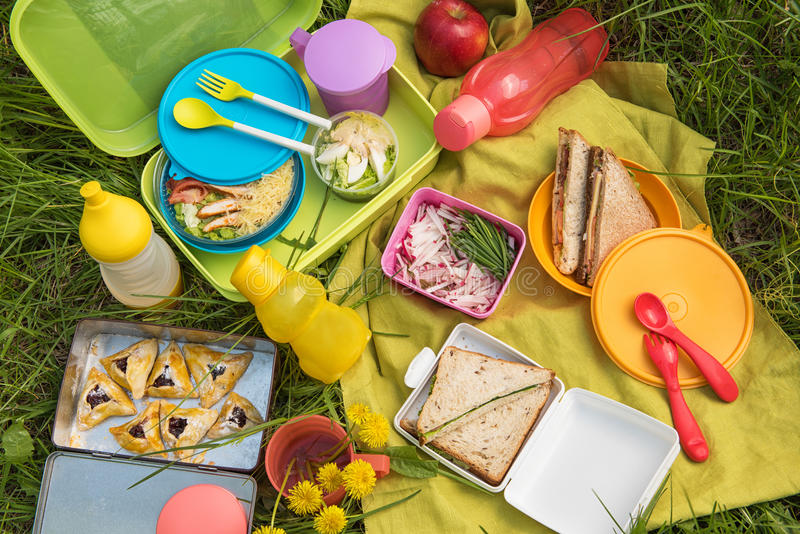 Picnic food at outdoor royalty free stock photo