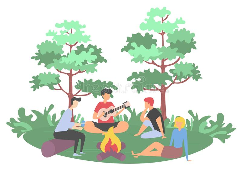 People Leisure in Forest, Picnic and Friend Vector. Picnic in forest, friends sitting near bonfire. Man character playing guitar, people listening sound, leisure stock illustration