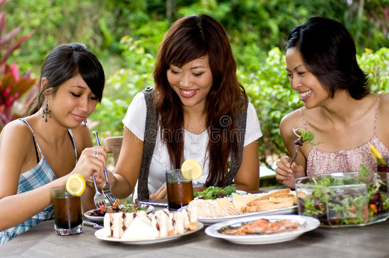 Download Picnic with friends stock image. Image of salad, pretty - 3286215