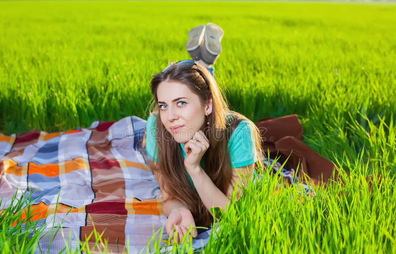 Picnic on the grass. Happy family royalty free stock image