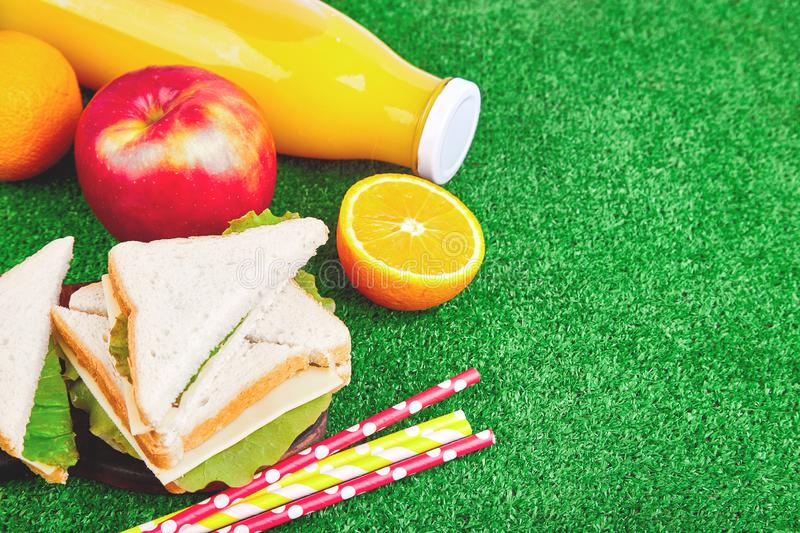 Picnic on the grass. Summer Time Rest. Flat lay stock photography