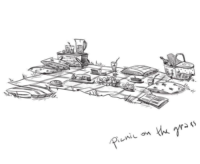 Picnic on the grass vector illustration. Hand drawn. EPS 10 vector illustration