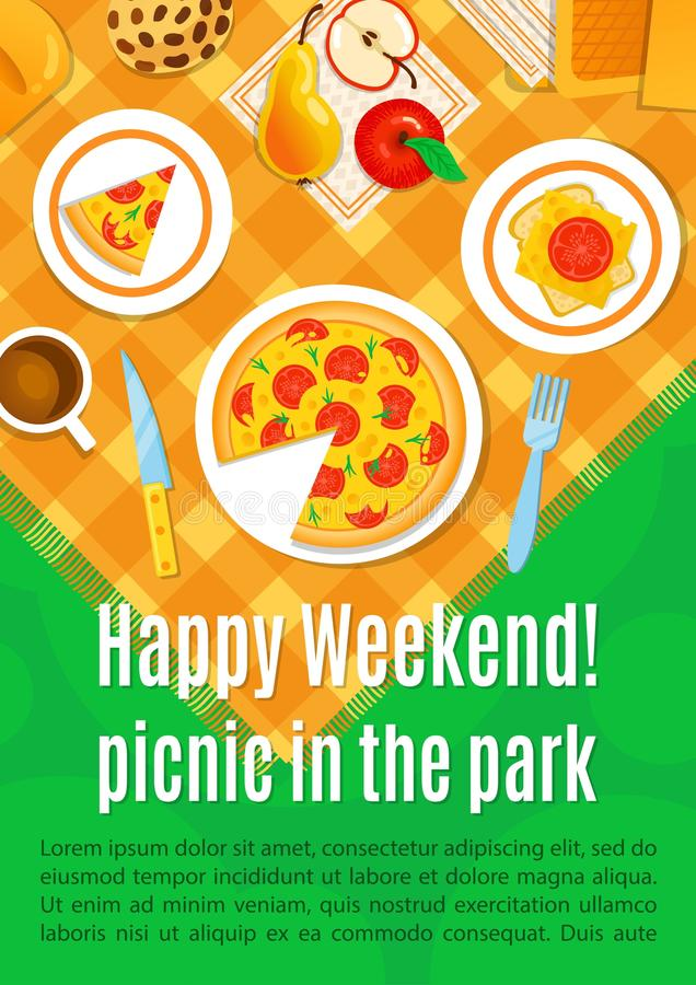 Picnic on the grass vector illustration. Happy weekend royalty free illustration