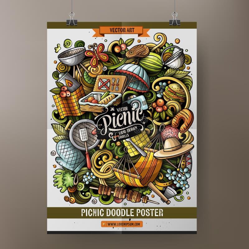 Picnic hand drawn doodles illustration. BBQ cartoon doodle background. Picnic hand drawn doodles illustration. BBQ objects and elements cartoon doodle royalty free illustration