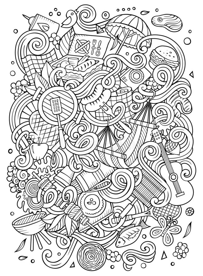 Picnic hand drawn doodles illustration. BBQ poster design. Family party elements and objects cartoon background. Sketchy funny picture stock illustration