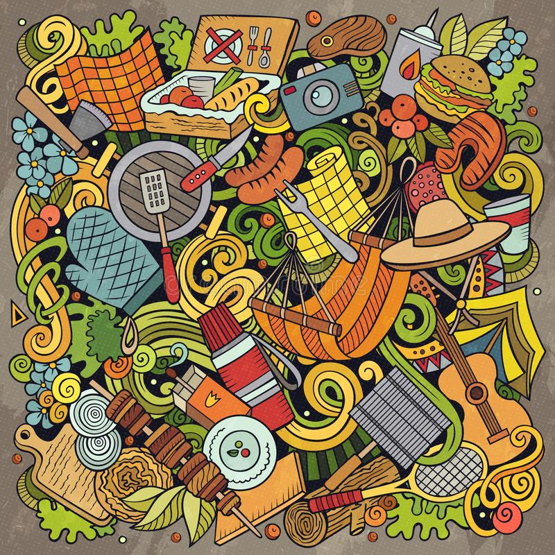 Picnic hand drawn vector doodles illustration. BBQ poster design. Family party elements and objects cartoon background. Bright colors funny picture. All items stock illustration