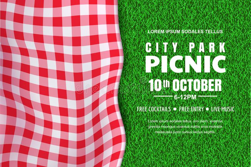 Picnic horizontal background. Vector poster or banner template with realistic red gingham plaid on green grass lawn vector illustration