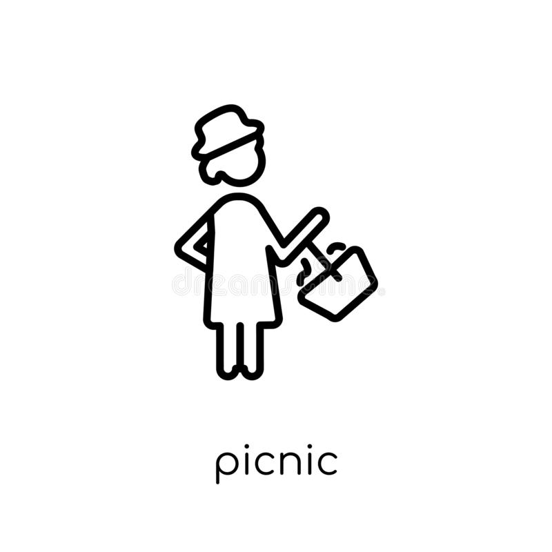 Picnic icon. Trendy modern flat linear vector Picnic icon on white background from thin line Activity and Hobbies collection. Editable outline stroke vector royalty free illustration