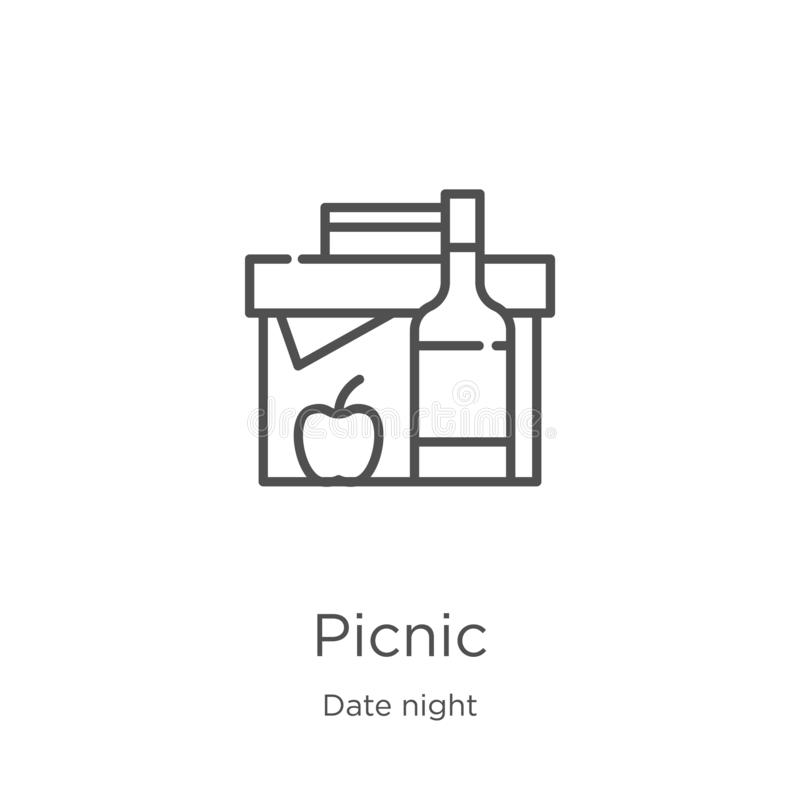 Picnic icon vector from date night collection. Thin line picnic outline icon vector illustration. Outline, thin line picnic icon. Picnic icon. Element of date vector illustration