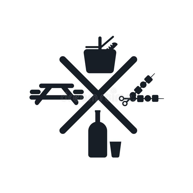 Picnic icon vector sign and symbol isolated on white background, Picnic logo concept. Picnic icon vector isolated on white background for your web and mobile app stock illustration