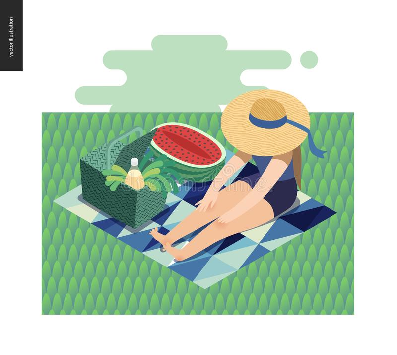 Picnic image summer postcard stock illustration
