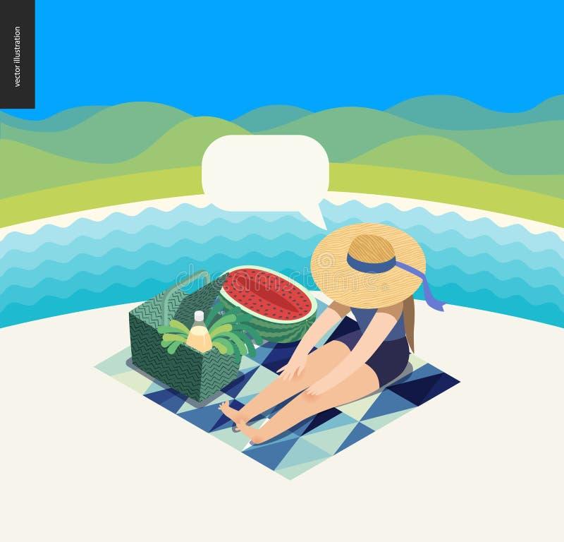 Picnic image summer postcard vector illustration