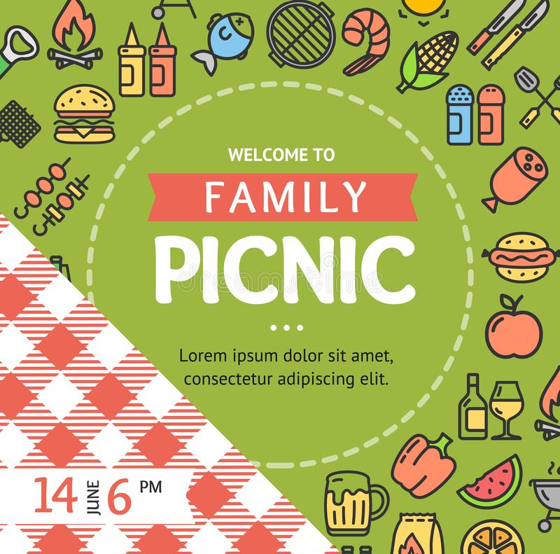 Picnic Invitation Placard Banner Card with Thin Line Icon. Vector. Picnic Invitation Placard Banner Card with Thin Line Icon Round Design Template Frame or royalty free illustration