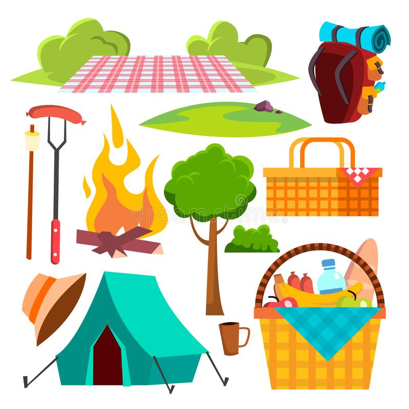 Picnic Items Vector. Tent, Campfire, Sausages, Basket. Hike, Summer Vacation. Isolated Cartoon Illustration. Picnic Items Vector. Tent, Campfire, Sausages stock illustration