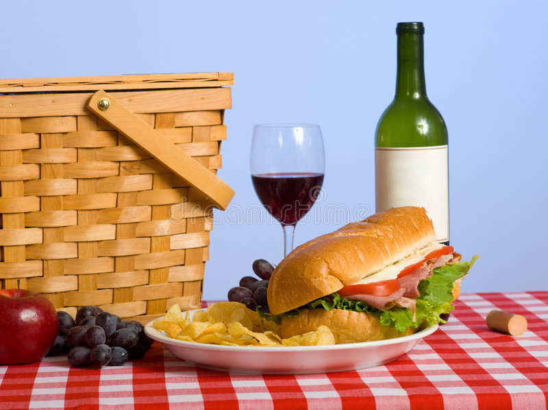 Download Picnic Lunch stock image. Image of sandwich, basket, background - 5125849