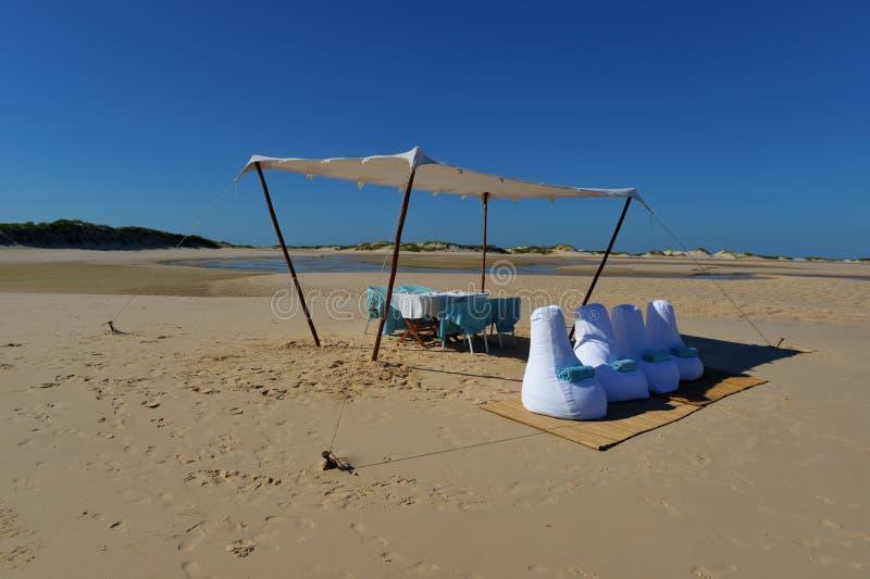Picnic Lunch On Bazaruto Island, Mozambique Stock Photos