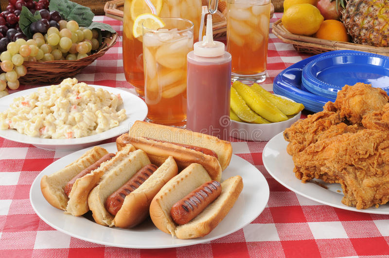 Picnic lunch hot dogs royalty free stock photography