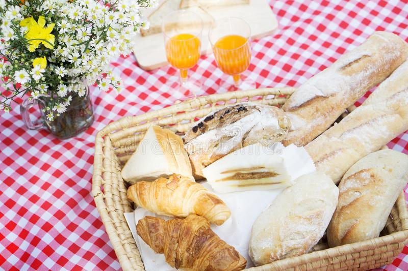 Picnic Lunch Meal Outdoors Park Food Concept, Closeup of picnic royalty free stock images