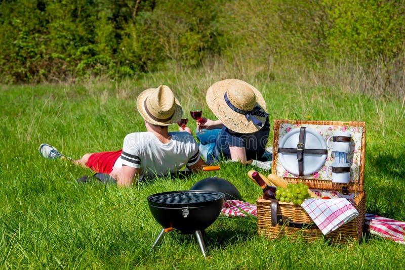 Picnic on a meadow stock photos