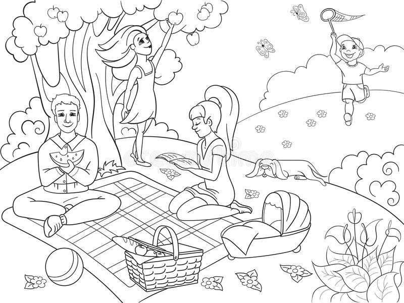 Picnic in nature coloring book for children cartoon vector illustration. Black and white stock illustration