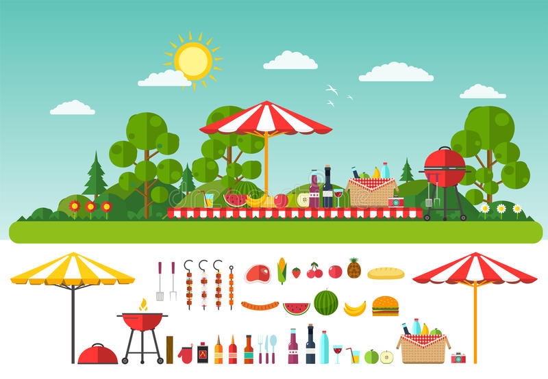 Picnic on nature. Set of elements for outdoor recreation royalty free illustration