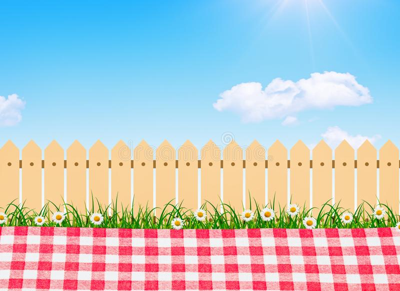 Picnic outdoor, spring bloom tree in backyard and wooden garden fence. Picnic outdoor, spring bloom tree in backyard stock illustration