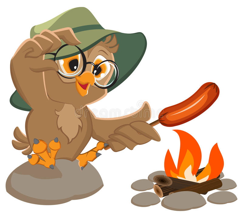 Picnic owl scout frying sausage on fire. Isolated on white vector cartoon illustration stock illustration