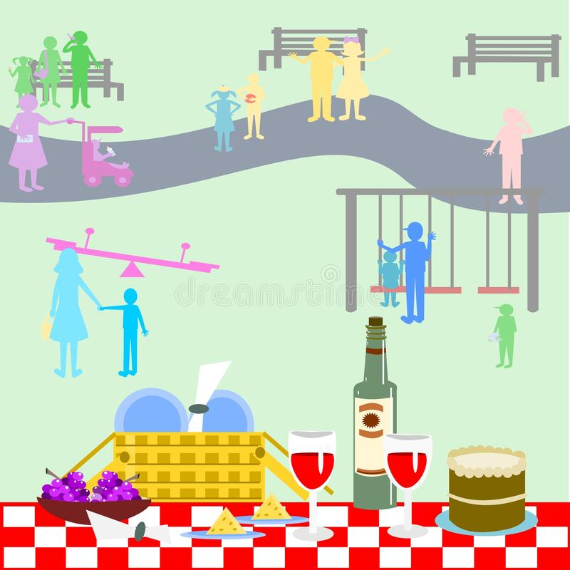 Picnic in the park royalty free illustration