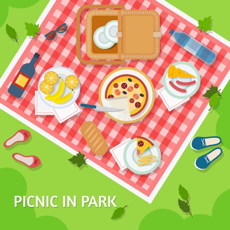 Picnic in park stock illustration