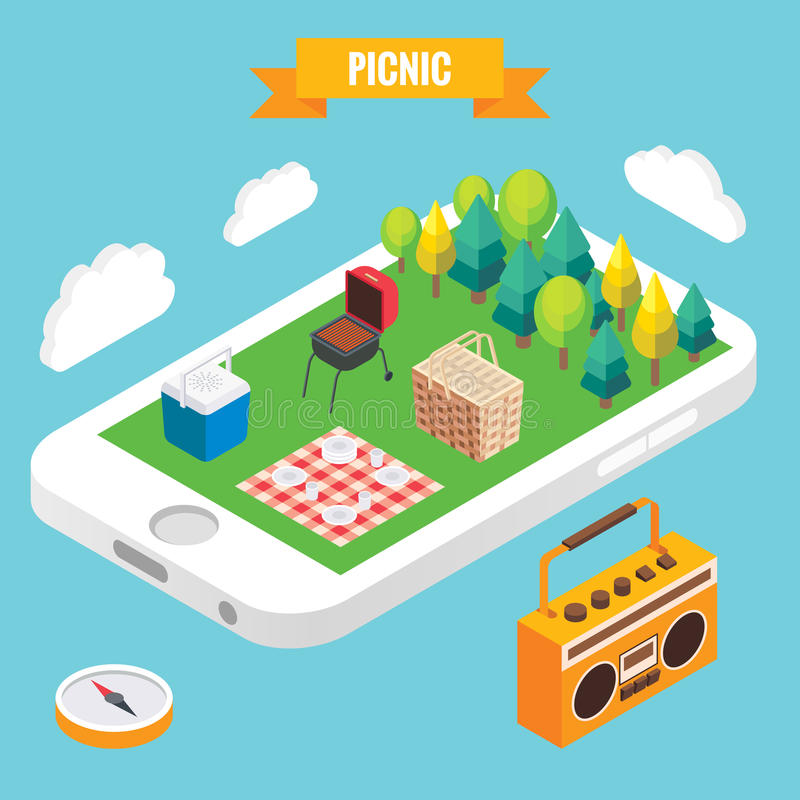 Picnic in a park isometric objects on mobile phone screen. Vector illustration in flat 3d style. Stay online everywhere. Concept illustration vector illustration